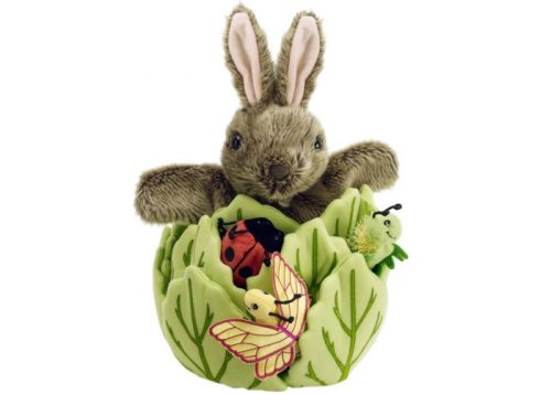 Rabbit in a Lettuce Hide-Away Puppet with 3 Mini Beasts:
