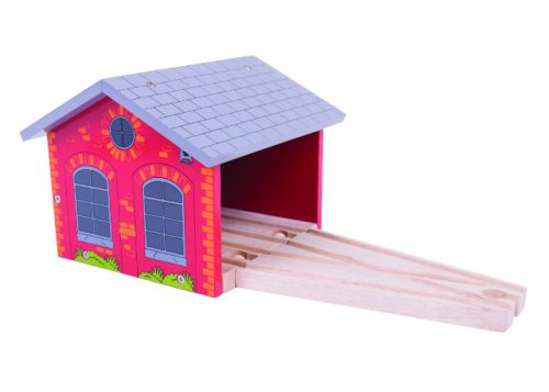 Bigjigs Rail Wooden Red Double Engine Shed