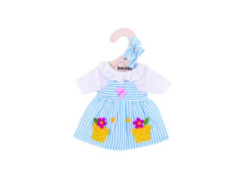 Bigjigs Toys Blue Striped Dress for 28cm Dolls