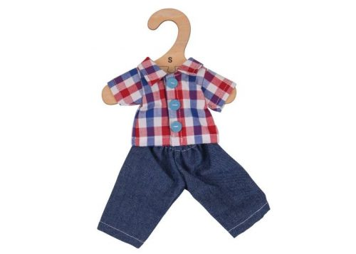 Bigjigs Toys Checked Shirt and Jeans for 28cm Dolls