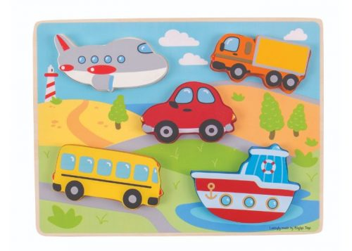 Bigjigs Toys Wooden Chunky Lift Out Transport Puzzle