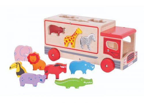 Bigjigs Toys Wooden Safari Sorting Lorry