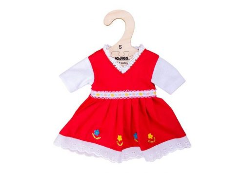 Bigjigs Toys Red Dress with Floral Trim for 28cm Dolls