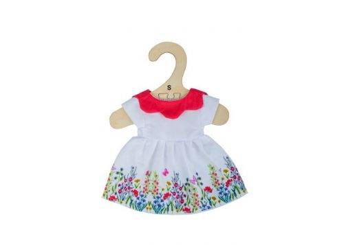 Bigjigs Toys White Floral Dress with Red Collar for 28cm Dolls
