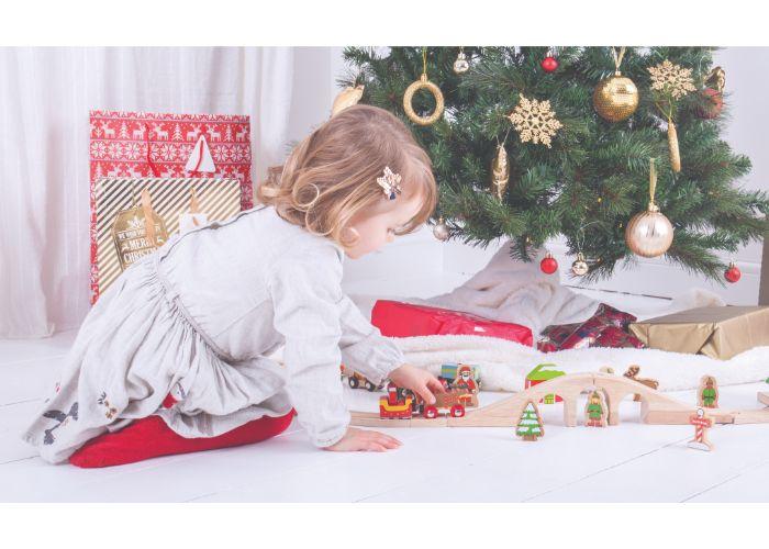 Bigjigs Rail Santa Sleigh with Reindeer Under the Tree