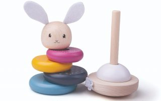 Eco friendly wooden rabbit stacking ring