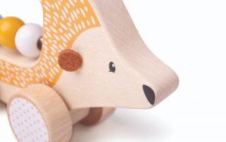 Eco friendly wooden hedgehog push along